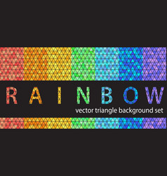 triangle pattern set rainbow seamless geometric vector image vector image