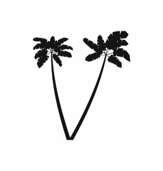Two palm plant trees icon simple style vector