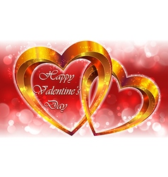 Valentines composition with gold hearts vector