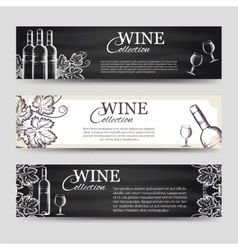 Wine banners with glasses and bottles vector image vector image