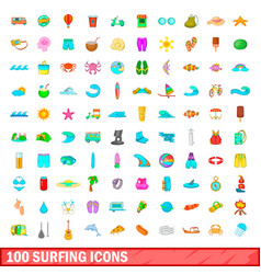 100 surfing icons set cartoon style vector