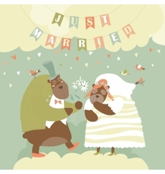 Two Lovely Bears Just Married vector image