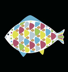 Cartoon funny fish underwater life vector