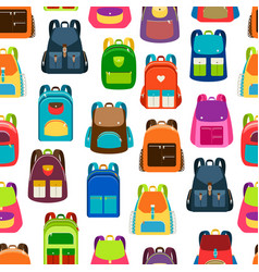 School cartoon pattern with colorful backpacks vector
