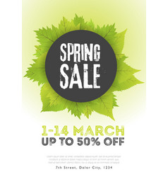 Spring sale poster template with leaves and frame vector