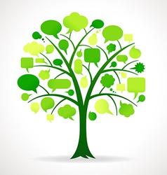 Green single speech bubble tree vector
