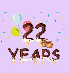 22 years anniversary celebration card vector image