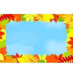 Frame of autumn leaves against the sky vector