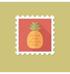 Pineapple flat stamp with long shadow vector