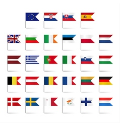 Set of colored mini flags vector