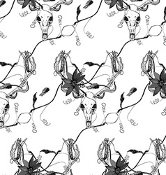 Deer skull and passion flower black pattern vector