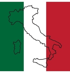 Map of italy on national flag vector