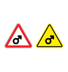 Warning sign mans attention yellow danger man male vector