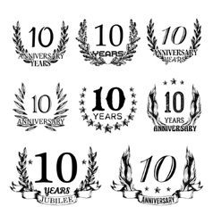 Anniversary emblems in sketch style vector