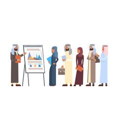 Arab business people group presentation flip chart vector