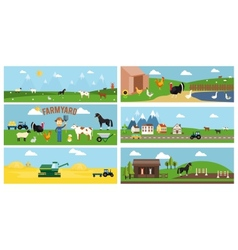 Beautiful farmyard cartoon banners vector