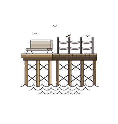 Bench on wooden pier vector