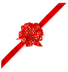 big corner bow made of ribbon in polka dots vector image