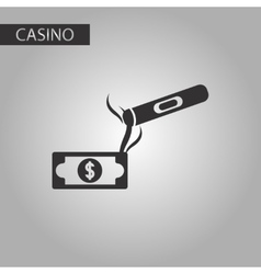 black and white style cigar dollar vector image