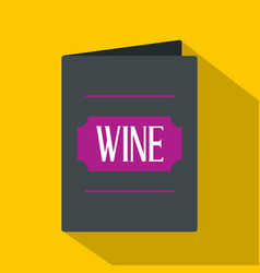 Black wine card icon flat style vector