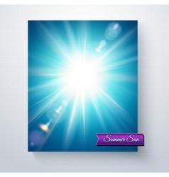 Bright white sunburst in a blue sky vector