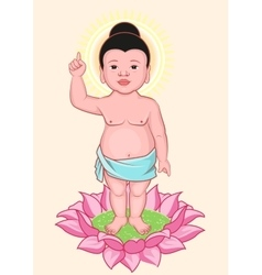 Buddha birthday little buddha stands on lotus vector