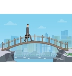 Businessman going on a bridge from mountain cliff vector