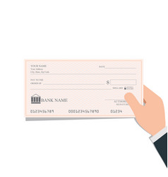 businessman holding blank bank checks or cheque vector image