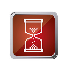 Button with hourglass with background red vector