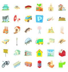 City transport icons set cartoon style vector