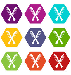 combs icon set color hexahedron vector image