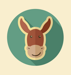 Donkey flat icon animal head vector