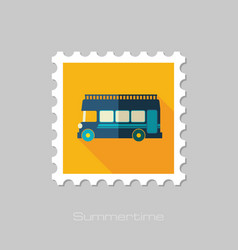 double decker open top sightseeing city bus stamp vector image vector image