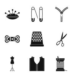 Embroidery kit icons set simple style vector
