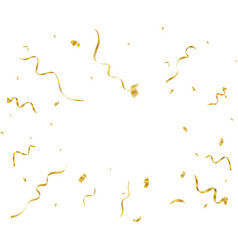 gold confetti and streamers vector image vector image