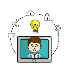 Man inside of television with idea bulb and icons vector