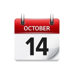 October 14 flat daily calendar icon date vector