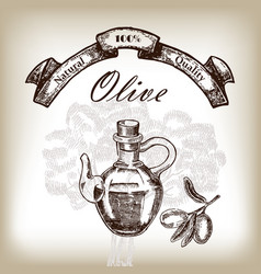 olive oil in jar with tree branch hand drawn in vector image vector image