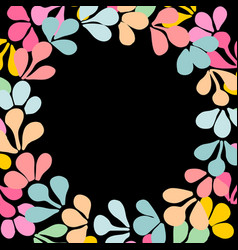 Pastel laurel wreath frame isolated on black vector
