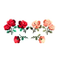 Pixelated wedding roses and leafs - isolated vector image