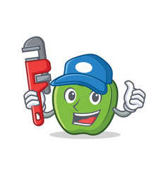 Plumber green apple character cartoon vector