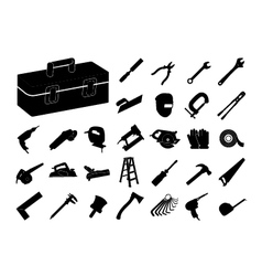 Set of black tool icon vector image vector image
