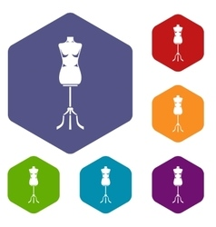 Sewing mannequin icons set vector image