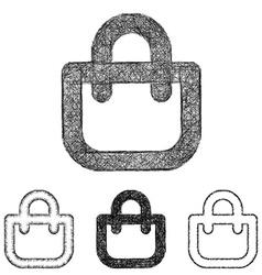 Shopping bag icon set - sketch line art vector image vector image