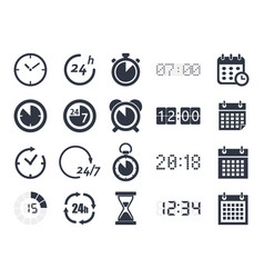 time clock icons vector image vector image
