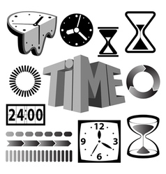 time icons and signs vector image