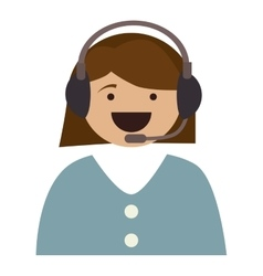 Silhouette cartoon woman call center service vector