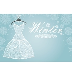 Winter cardbridal dress with snowflake lace vector