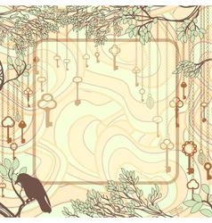 Vintage background with tree branches and antique vector image