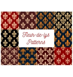 Floral fleur-de-lis french royal lily patterns set vector